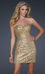 La Femme - 17039 Sequined Sweetheart Fitted Dress In Gold