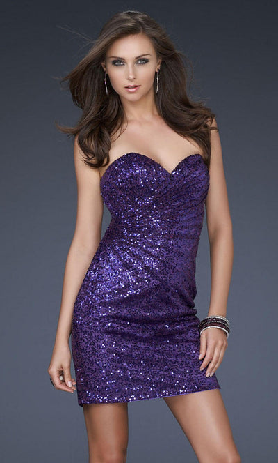 La Femme - 17039 Sequined Sweetheart Fitted Dress In Purple