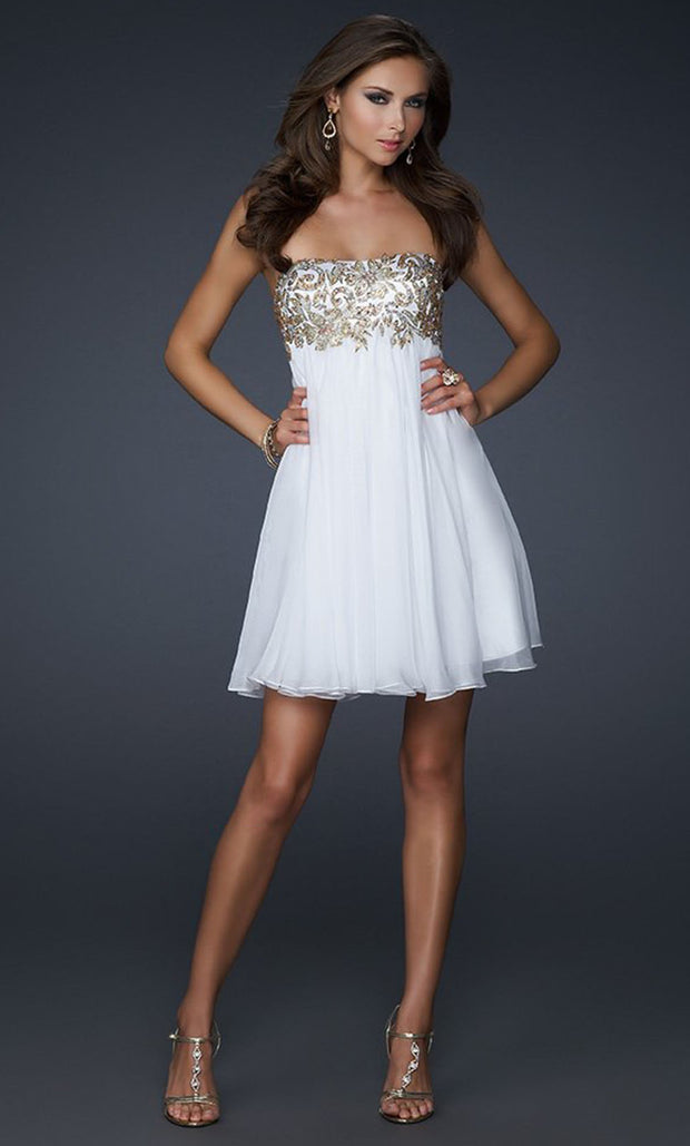 La Femme - 17107 Appliqued Empire A-Line Dress In White & Ivory
