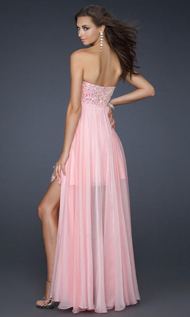 La Femme - 17502 Jewel Beaded Bust Chiffon Overlay Dress In Pink