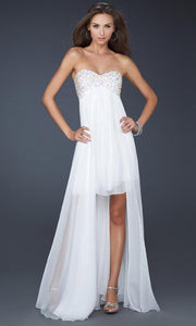 La Femme - 17502 Jewel Beaded Bust Chiffon Overlay Dress In White & Ivory