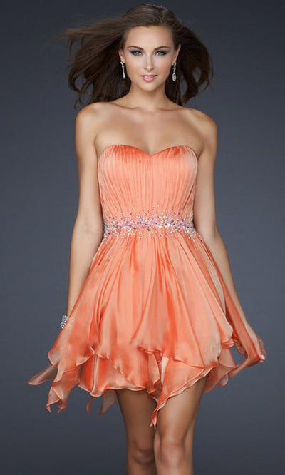 La Femme - 17544 Beaded Waist Ruffled Hem Cocktail Dress In Coral & Orange