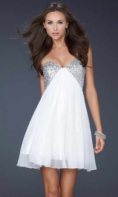 La Femme - 17649 Sequin Strapless Sweetheart Cocktail Dress In White & Ivory