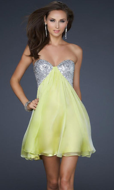 La Femme - 17649 Sequin Strapless Sweetheart Cocktail Dress In Yellow