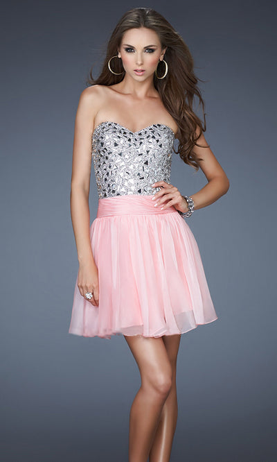 La Femme - 17953 Beaded Metallic Bodice A-Line Cocktail Dress In Pink