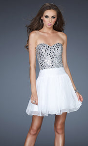 La Femme - 17953 Beaded Metallic Bodice A-Line Cocktail Dress In White & Ivory