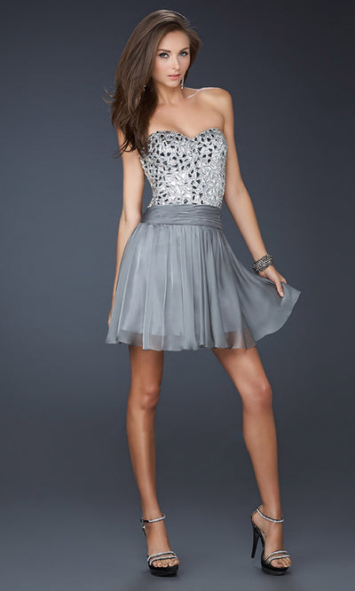La Femme - 17953 Beaded Metallic Bodice A-Line Cocktail Dress In Silver & Gray