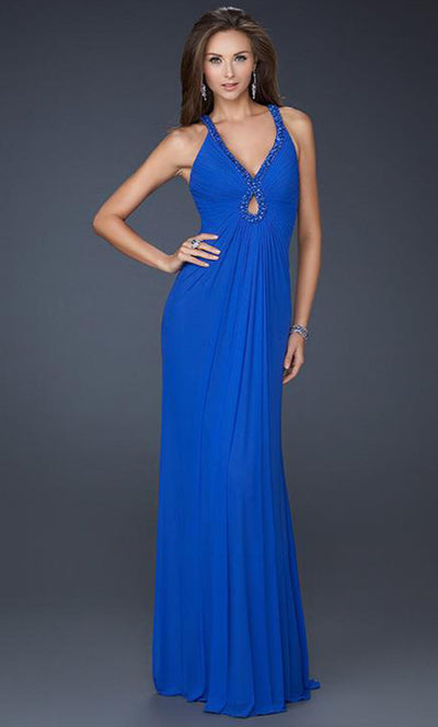 La Femme - 17956 Beaded Keyhole Cutout Sheath Dress In Blue