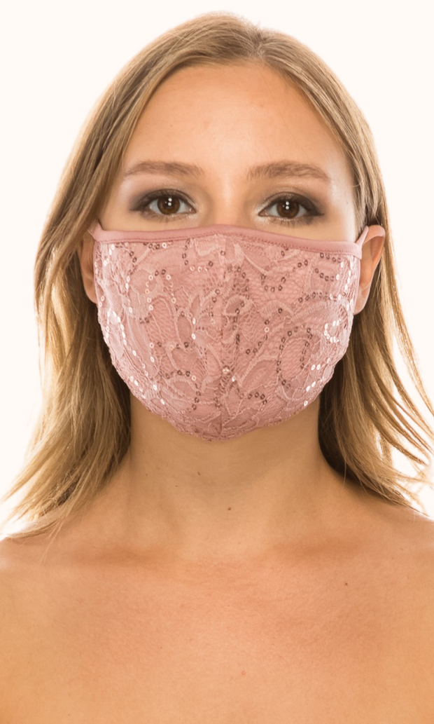 Dusty Rose Simple Lace Mask with sequins