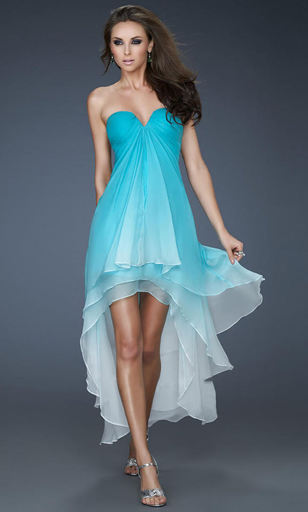 La Femme - 18049 Strapless Ombre High Low Dress In Blue