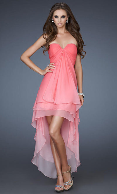 La Femme - 18049 Strapless Ombre High Low Dress In Pink