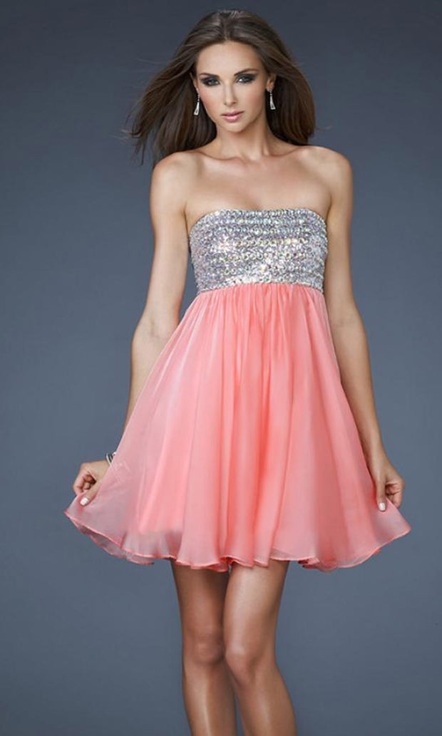 La Femme - 18063 Sequin Beaded Bust Chiffon Baby Doll Dress In Coral & Orange