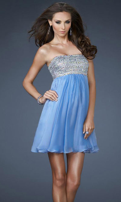 La Femme - 18063 Sequin Beaded Bust Chiffon Baby Doll Dress In Blue