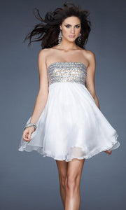 La Femme - 18063 Sequin Beaded Bust Chiffon Baby Doll Dress In White & Ivory