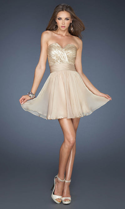 La Femme - 18162 Sequined Bodice Fit And Flare Chiffon Dress In Champagne & Gold