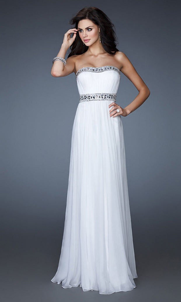 La Femme - 18241 Strapless Beaded Empire A-Line Dress In White & Ivory