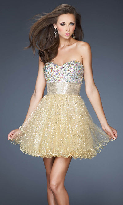 La Femme - 18902 Strapless Sweetheart Sparkly Baby Doll Dress In Champagne & Gold