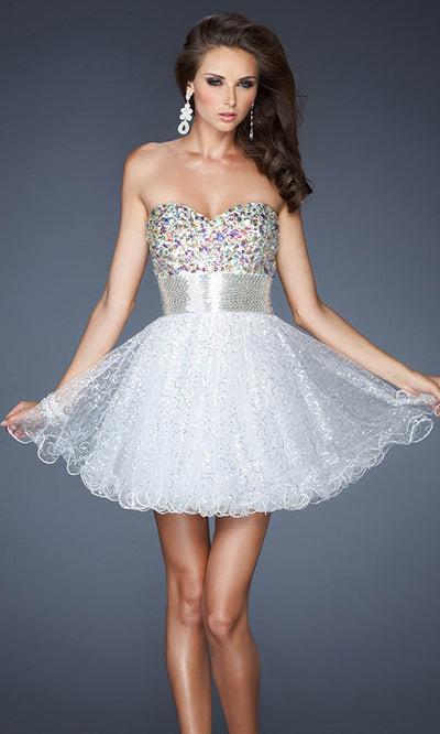 La Femme - 18902 Strapless Sweetheart Sparkly Baby Doll Dress In White & Ivory