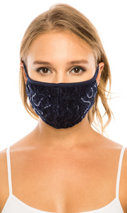 Navy Simple Lace Mask with sequins