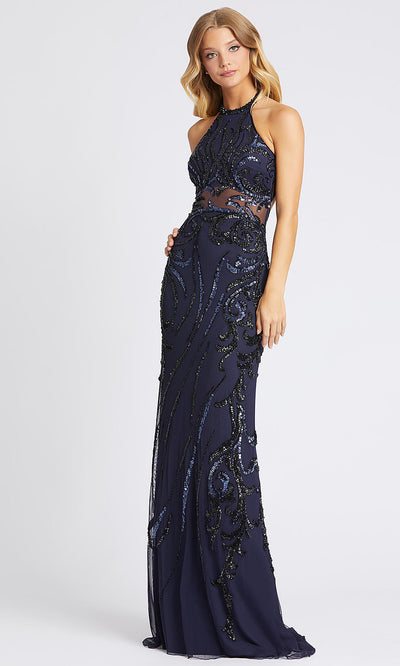 Mac Duggal - 1922A Sequin Halter Open Back Sheath Dress In Blue