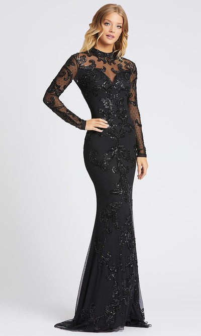 Mac Duggal - 1945A High Neck Long Sleeves Sheath Gown In Black