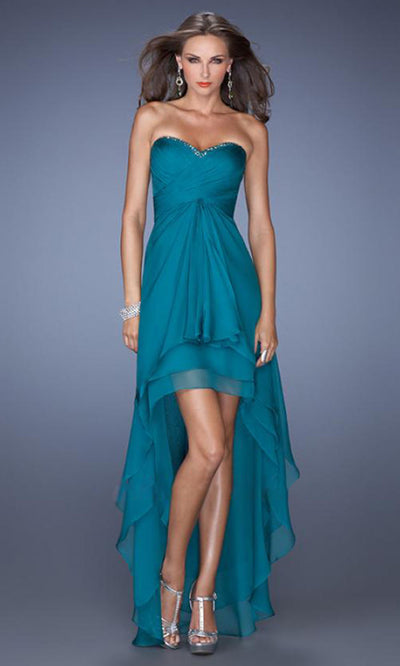 La Femme - 19471 Strapless High-Low Chiffon Prom Dress In Green