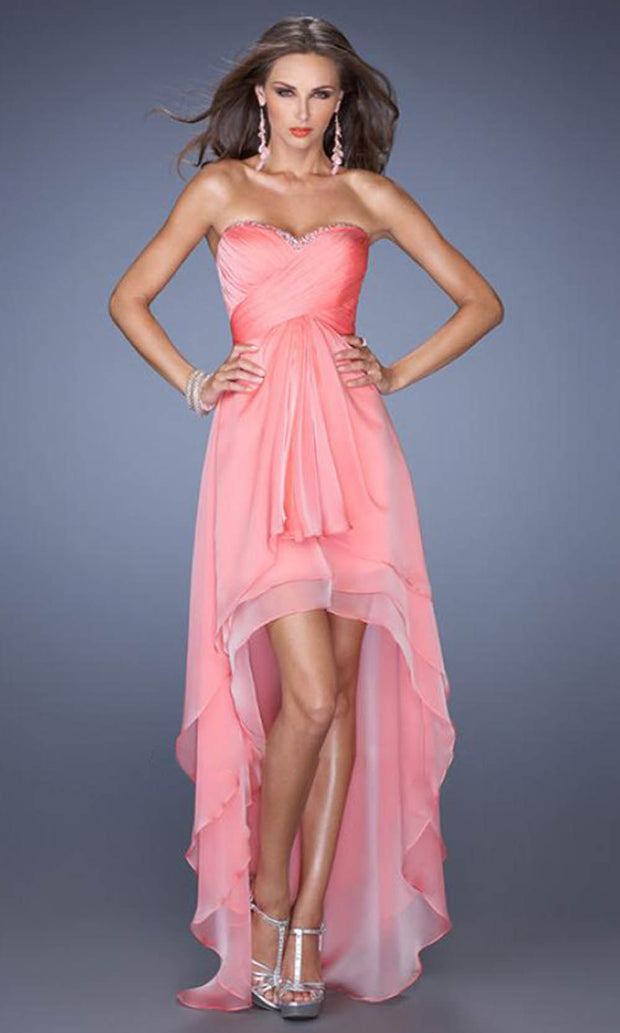 La Femme - 19471 Strapless High-Low Chiffon Prom Dress In Coral & Orange
