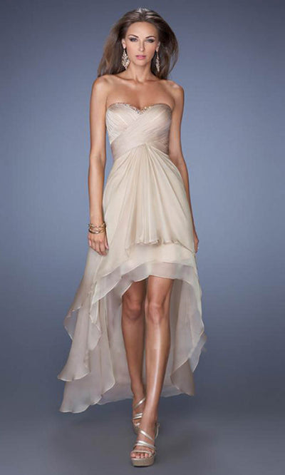 La Femme - 19471 Strapless High-Low Chiffon Prom Dress In Champagne & Gold