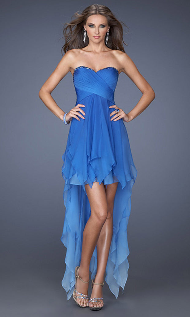 La Femme - 19634 Embellished Sweetheart High Low A-Line Dress In Blue