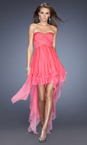 La Femme - 19634 Embellished Sweetheart High Low A-Line Dress In Pink
