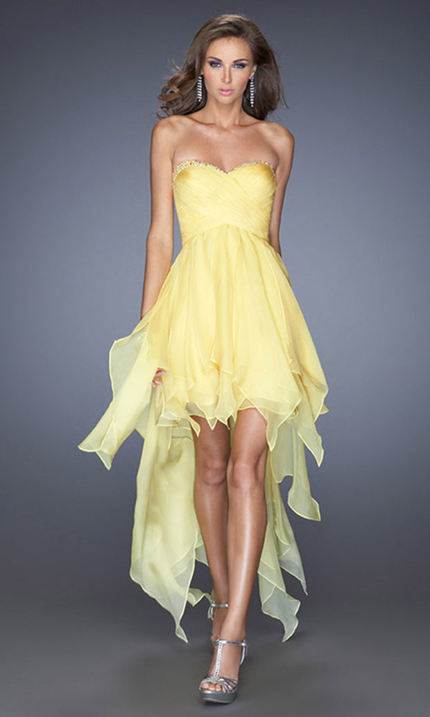La Femme - 19634 Embellished Sweetheart High Low A-Line Dress In Yellow