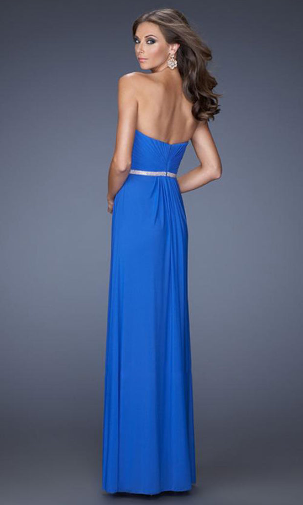 La Femme - 19671 Crystal Beaded Strapless Sweetheart Gown In Blue
