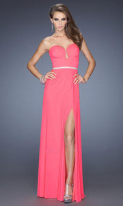 La Femme - 19671 Crystal Beaded Strapless Sweetheart Gown In Pink