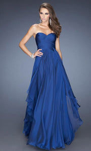 La Femme - 19741 Strapless Sweetheart Tiered A-Line Gown In Blue