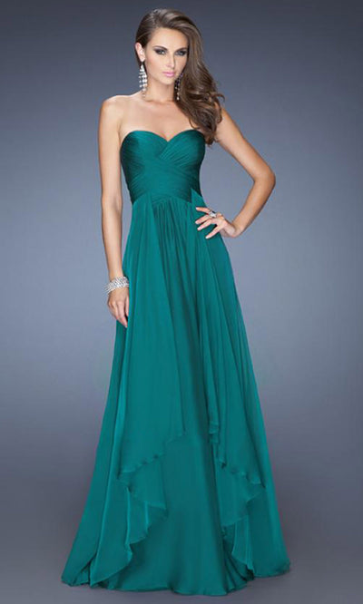 La Femme - 19741 Strapless Sweetheart Tiered A-Line Gown In Green
