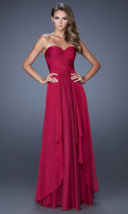 La Femme - 19741 Strapless Sweetheart Tiered A-Line Gown In Red