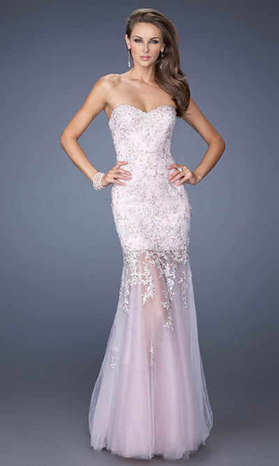 La Femme - 19923 Strapless Jewel-Appliqued Mermaid Dress In Pink