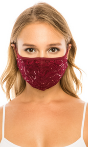 Burgundy Simple Lace Mask with sequins