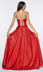 Cinderella Divine CJ525 long red metallic high slit dress