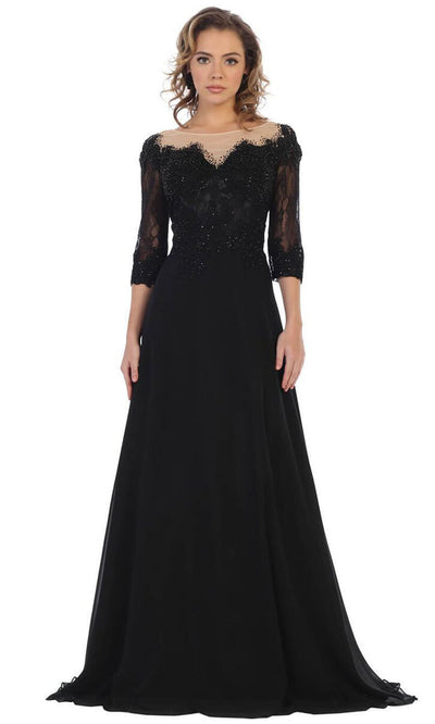 May Queen - MQ1617 Beaded Lace A-Line Gown In Black