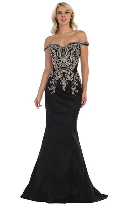 May Queen - MQ1609 Off Shoulder Trumpet Gown In Black