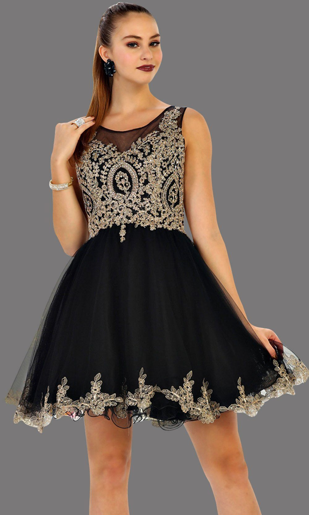 Short high neck black grade 8 grad puffy dress with gold lace. This black grade 8 graduation short dress and pretty. Can be worn for quinceanera damas, short prom dress, bah mitzvah, sweet 16, confirmation.  Avail in plus size
