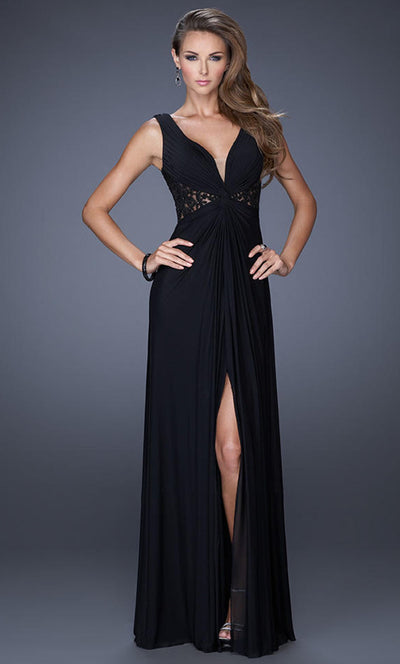 La Femme - 20142 V-Neck Lace Panel And Back High Slit Gown In Black