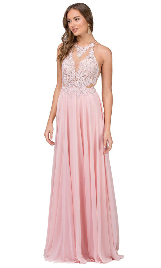 Dancing Queen - 2015 Embroidered Halter Neck A-Line Dress In Pink