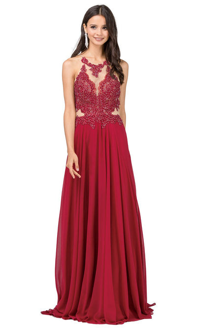 Dancing Queen - 2015 Embroidered Halter Neck A-Line Dress In Red