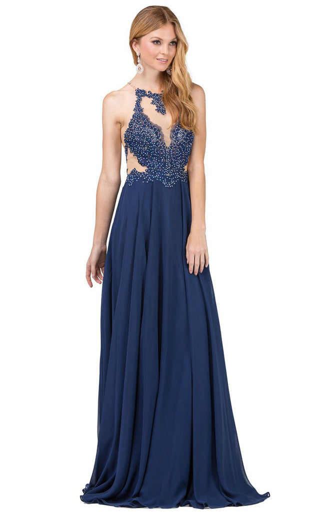 Dancing Queen - 2015 Embroidered Halter Neck A-Line Dress In Blue