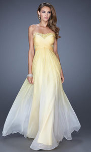 La Femme - 20167 Strapless Illusion Ombre A-Line Gown In Yellow