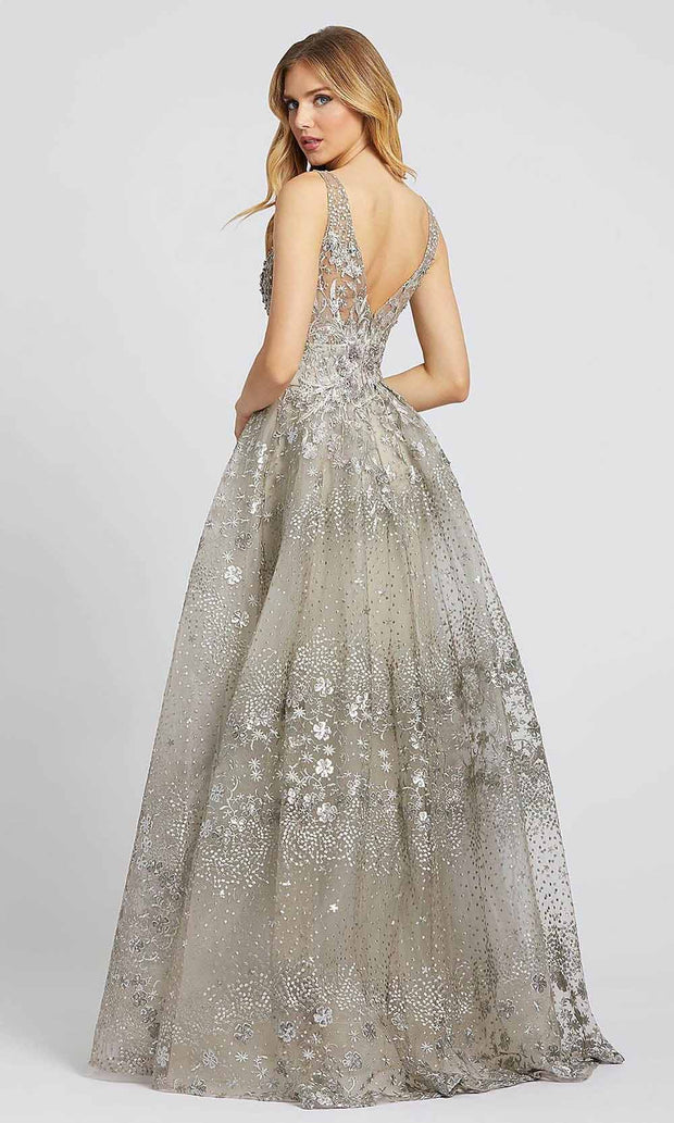Mac Duggal - 20191D Embroidered Deep V Neck Gown In Gray and Neutral