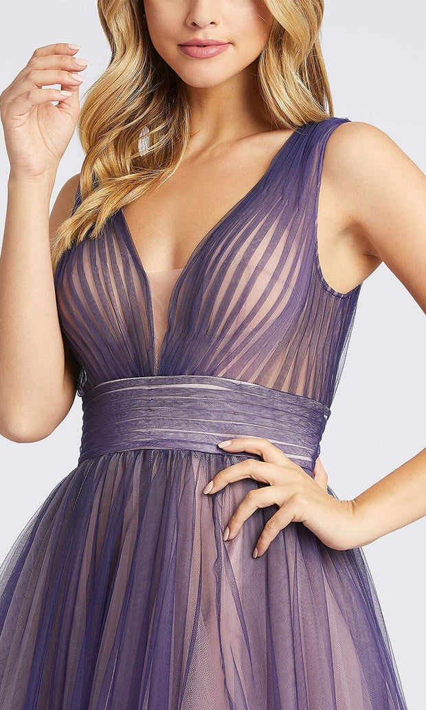Mac Duggal - 20221I Deep V Neck A-Line Gown In Purple