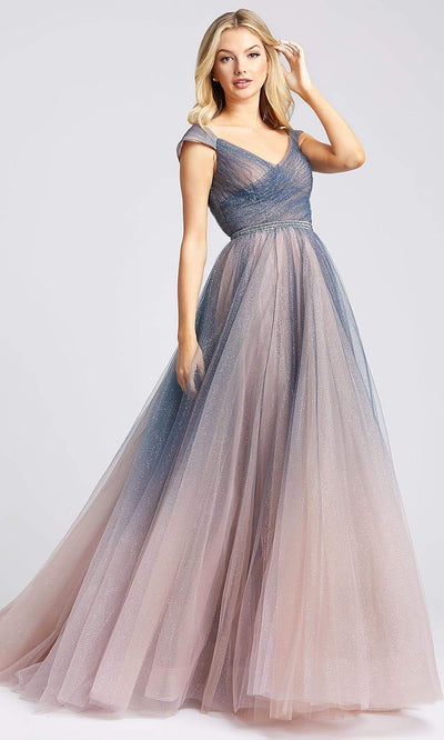 Mac Duggal - 20222I V Neck Tulle Ballgown In Gray and Ombre